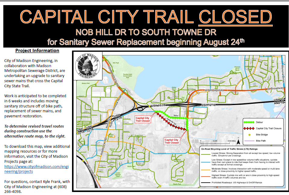Capital City Bike Trail Closure