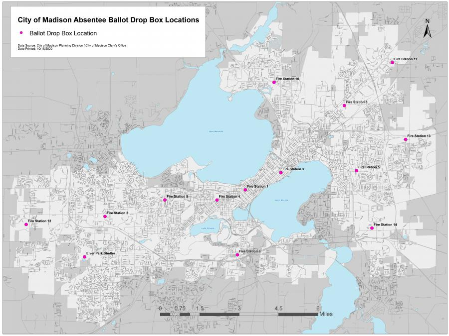 City of Madison Absentee Ballot Drop Box Locations