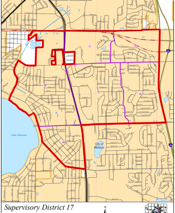 Map of Dane County Board District 17