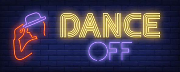 "illustration of neon light sign that says ""dance"""