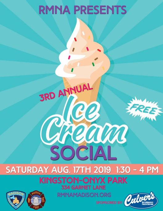 Rolling Meadows Ice Cream Social Flyer stating date, time and location