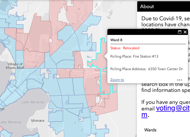 map of ward 8 polling location changed