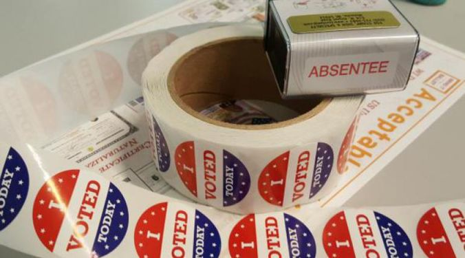 "A roll of ""I voted"" stickers"