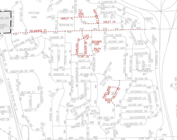 screenshot of map of D3 streets getting resurfaced