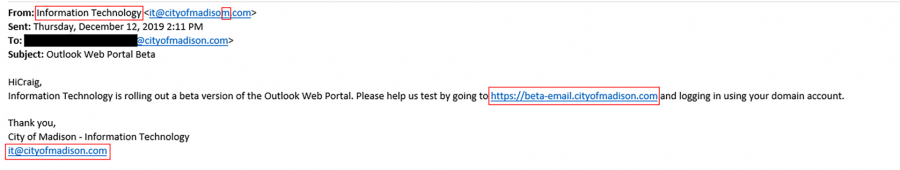 Phishing attempt example.