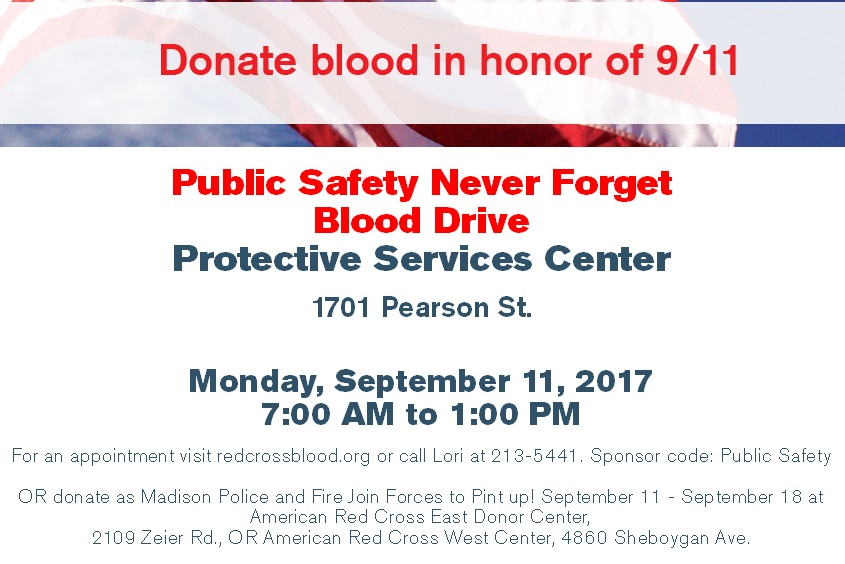 Public Safety Blood Drive poster