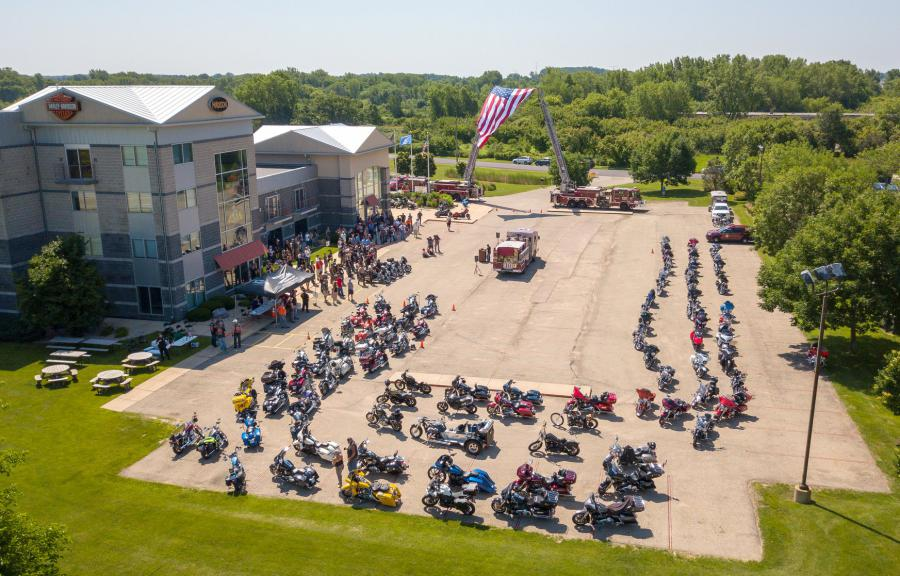 Drone shot of Memorial Ride kickoff