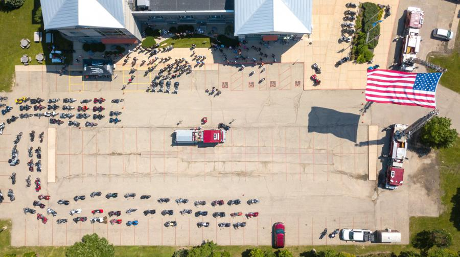 Overhead shot of Engine 10 and event participants