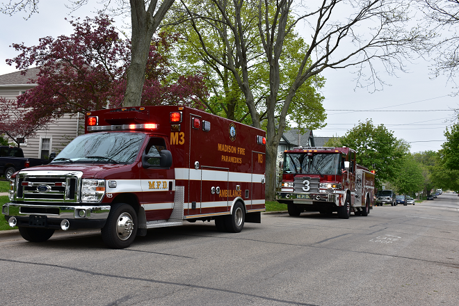 Medic 3 and Engine 3 in a residential neighborhood
