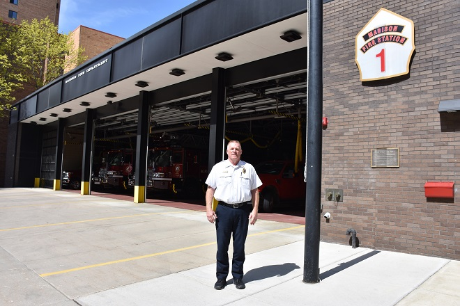 Clay Christenson outside Fire Station 1