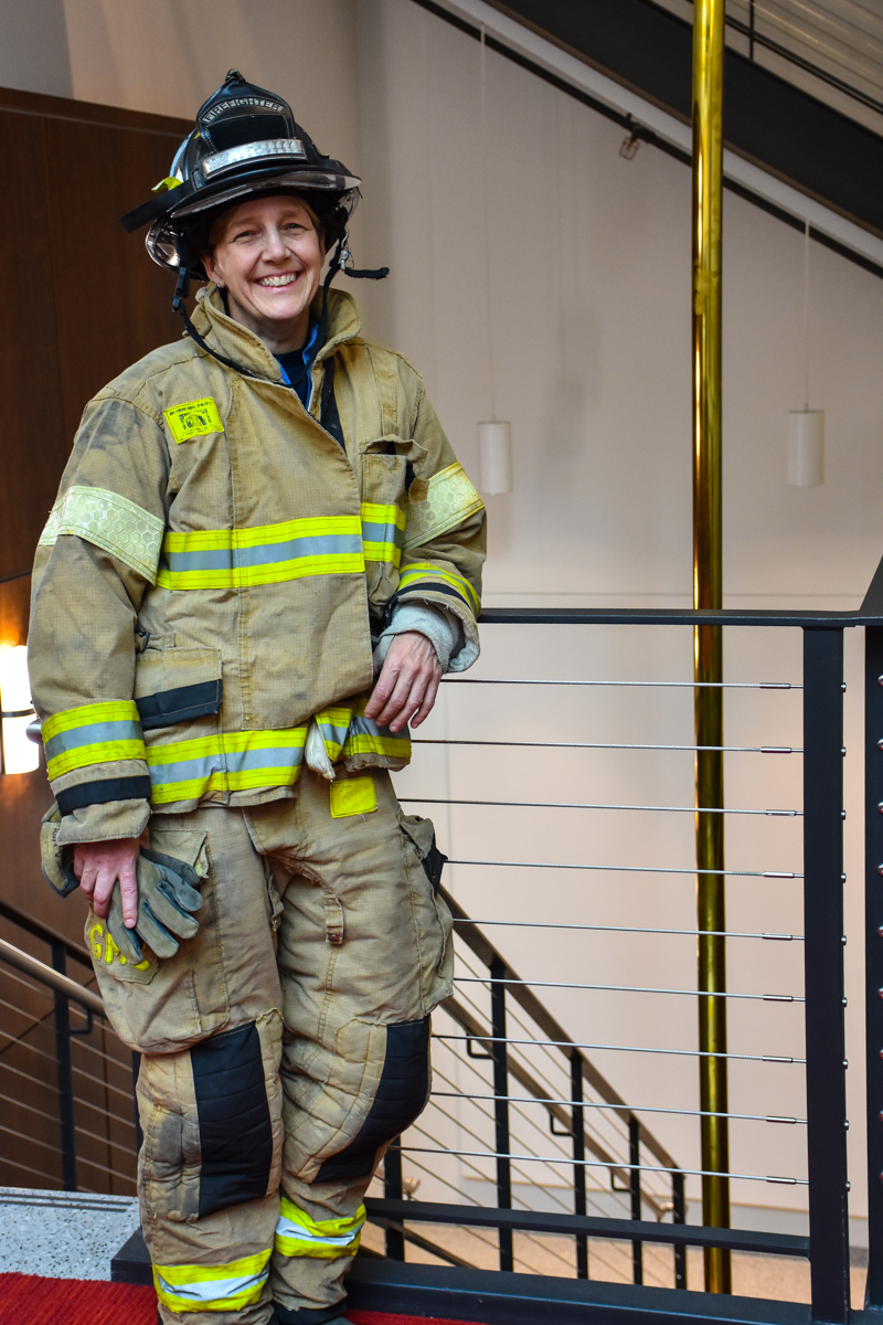 Gail Campbell in turnout gear