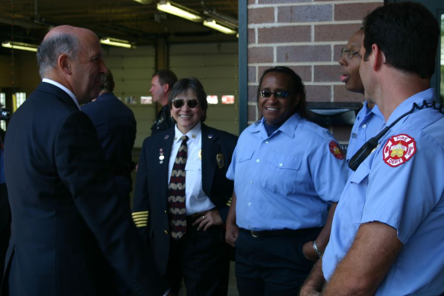 Jackson and other firefighters with Governor Jim Doyle in 2004