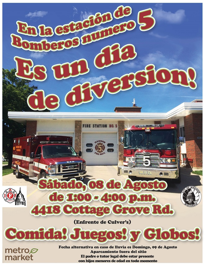 Firefighter Fun Day poster - Spanish language