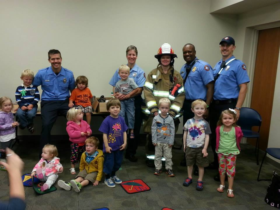 Station 5 personnel visit Pinney Library on 9/25/13