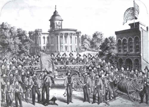 A Lithograph of the Fire Department