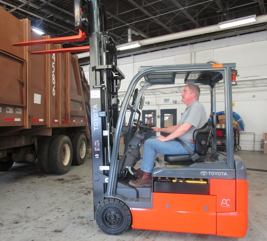 Mark Vander Waal operating an electric forklift