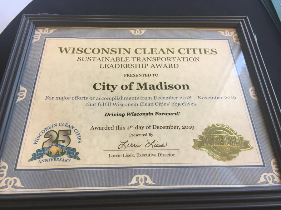 Sustainable Transportation Leadership Award Presented to City of Madison