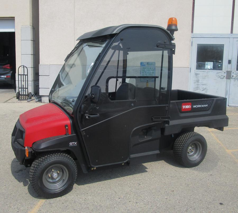 Electric Toro Workman GTX parked outside