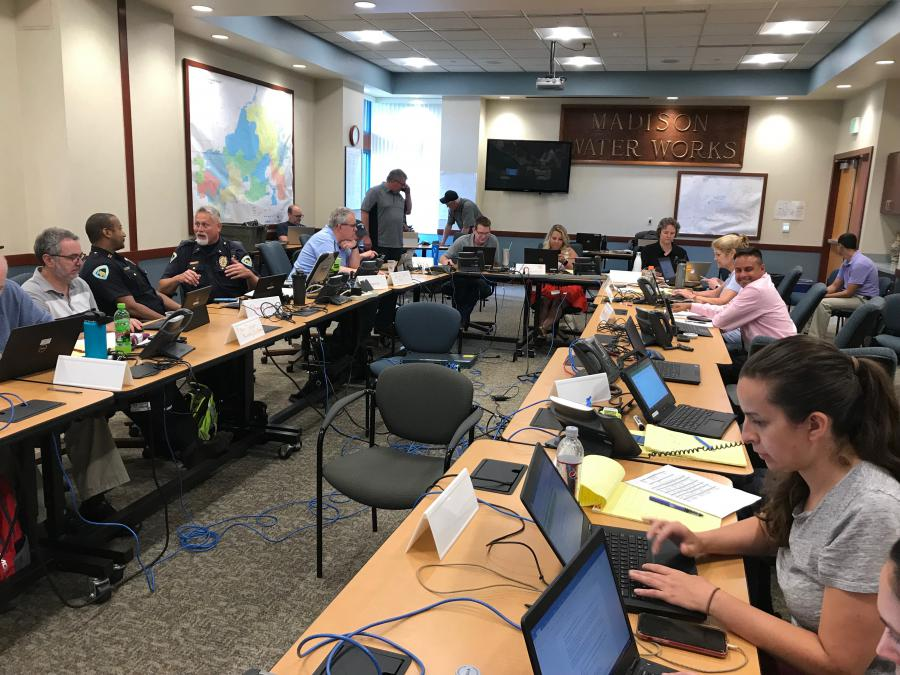 City and county staff work together at the Emergency Operations Center.