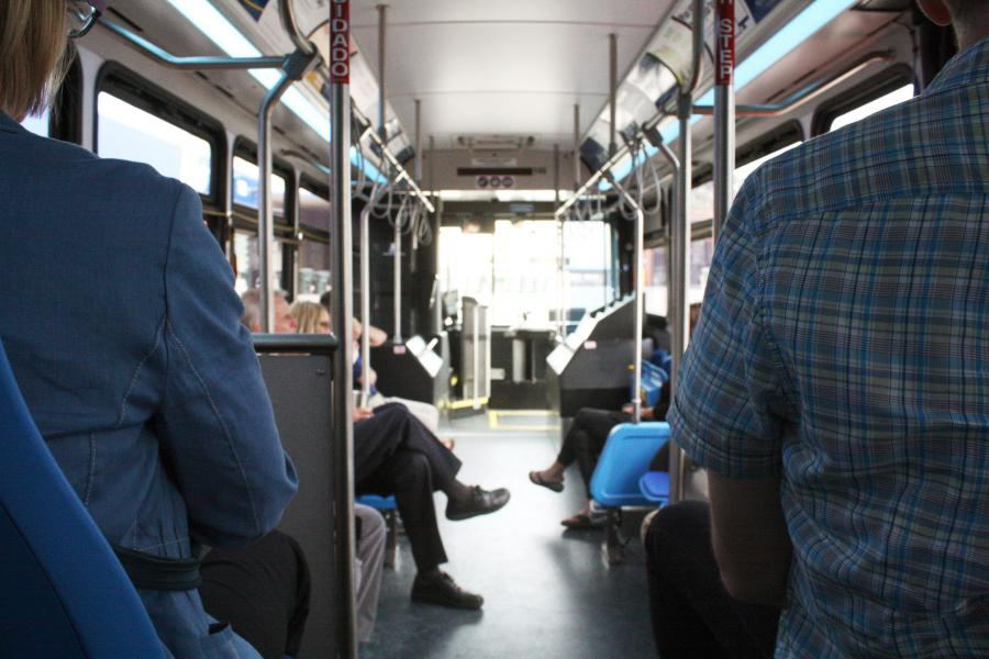 People riding the bus.