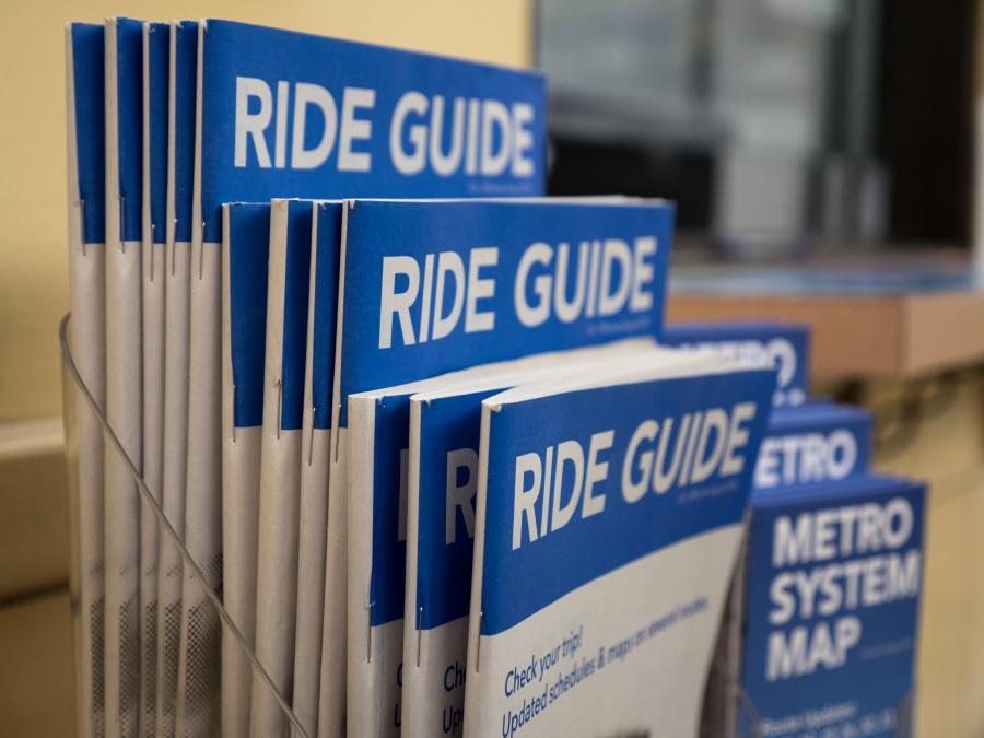 Ride Guide and System Map display case.