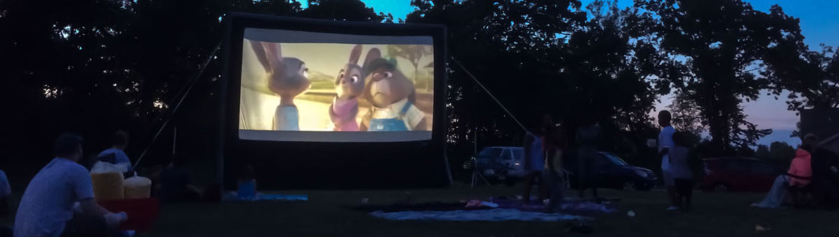 Zootopia plays on outdoor movie screen