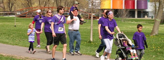 Group walking in event - Photo courtesy of PurpleStride - Madison