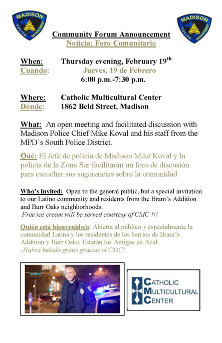 Chief Koval Community Forum Announcement