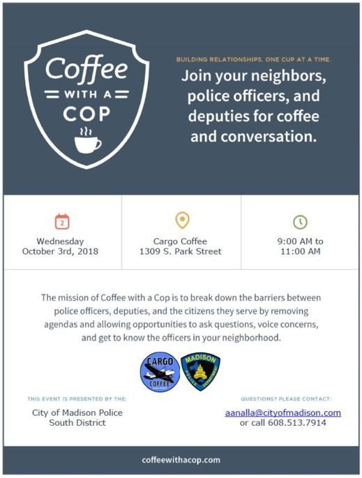 south district coffee with a cop