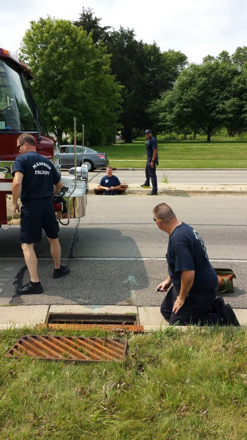 Lt. Larson gets into the sewer