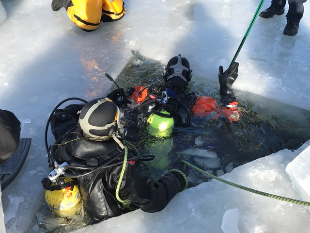 Divers resurface