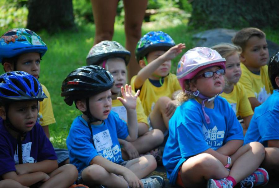 Safety Town kids ask questions during a bicycle safety presentation