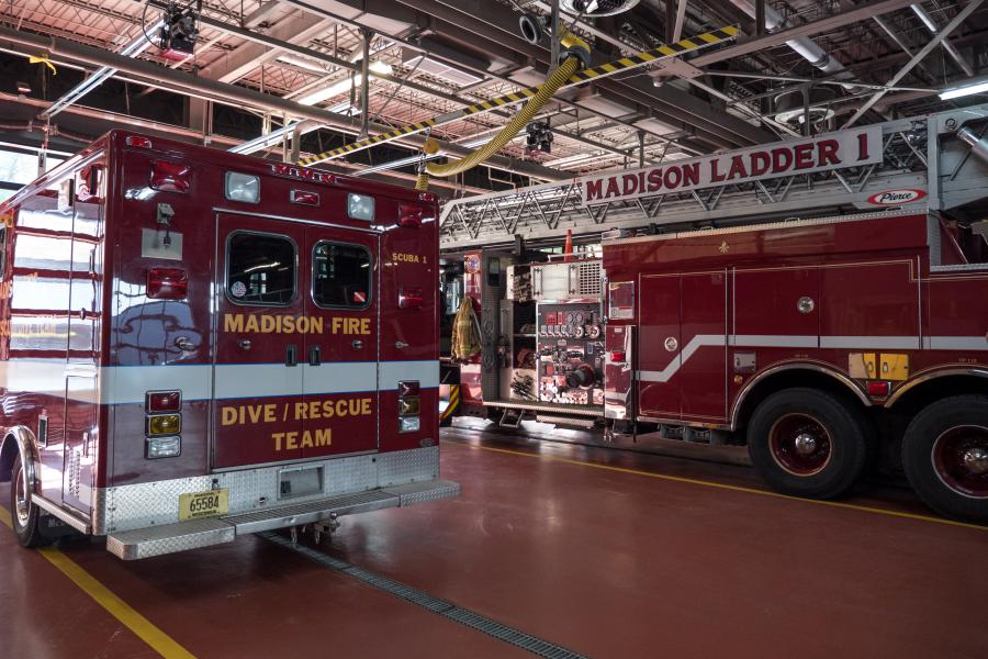 Station One Apparatus Bay - Fire Station 1 is the home of Ladder Company 1, Engine Company 1, and the MFD's Lake Rescue Team