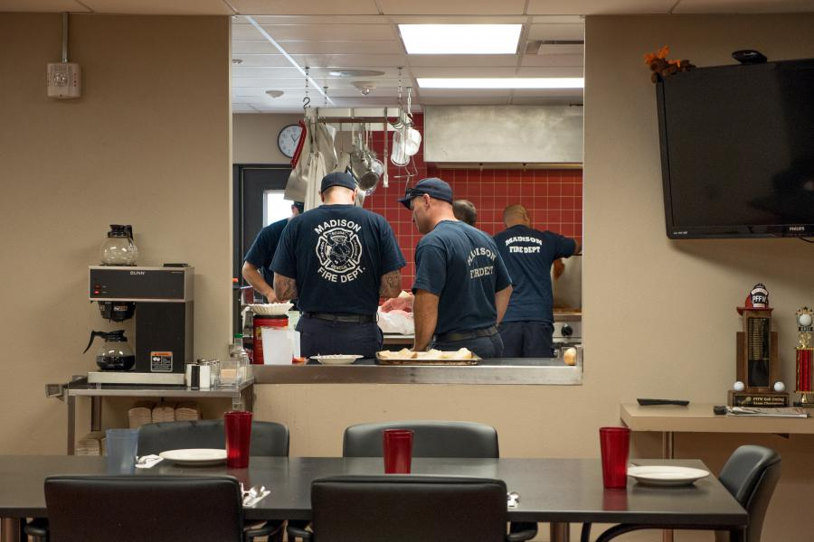 Station 1 Kitchen - The engine company, ladder company, Officer In Charge, and Chief's Aide dine together every day