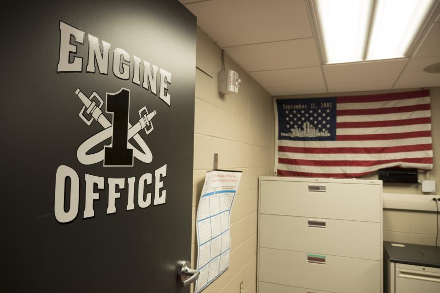 The Engine company's officer uses this office to write reports and conduct station business.