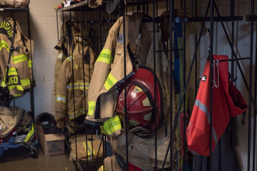 Gear Rack - These racks store turnout gear for all the firefighters at Station 11 on a total of three shifts.