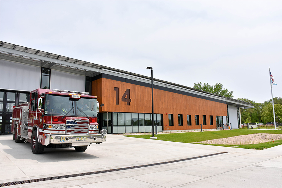 Station 14 with Engine 14 parked outside.