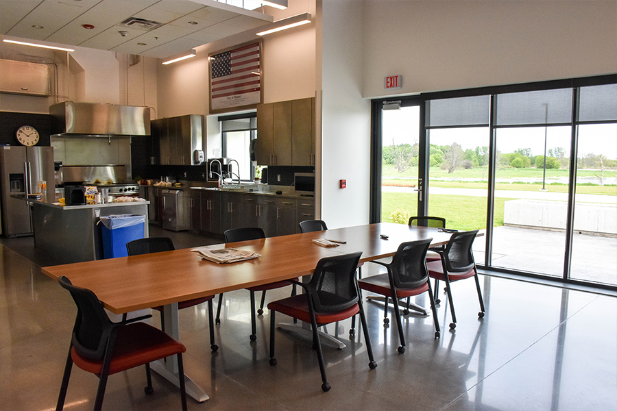 The kitchen and dining area at Station 14.