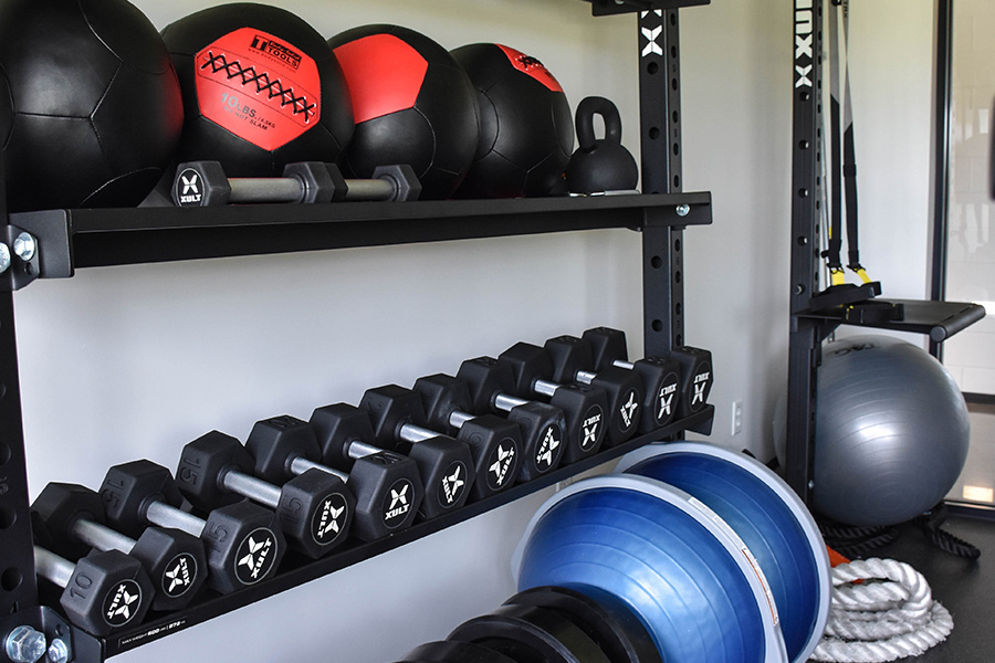 Hand weights and other fitness equipment.