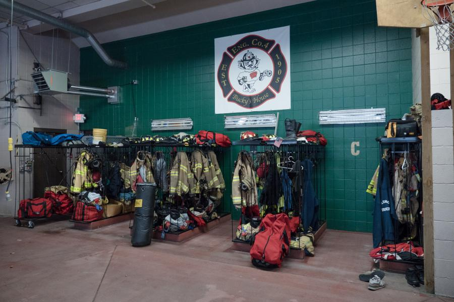 Gear Racks at Bucky's House - These racks store turnout gear for all the firefighters and paramedics at Station 4 on a total of three shifts.