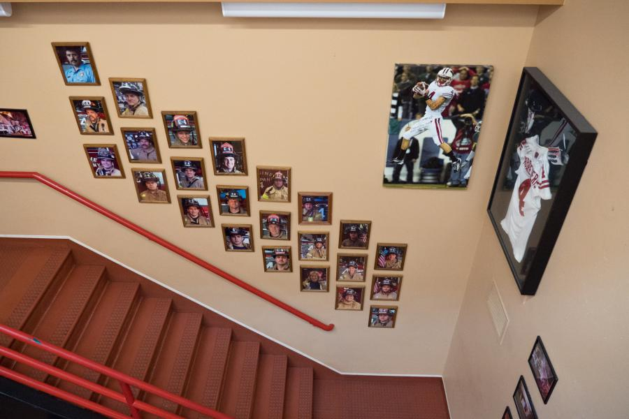 Station 4 Stairwell - Visitors will find a picture of every firefighter who serves at Station 4 as they ascend the staircase.