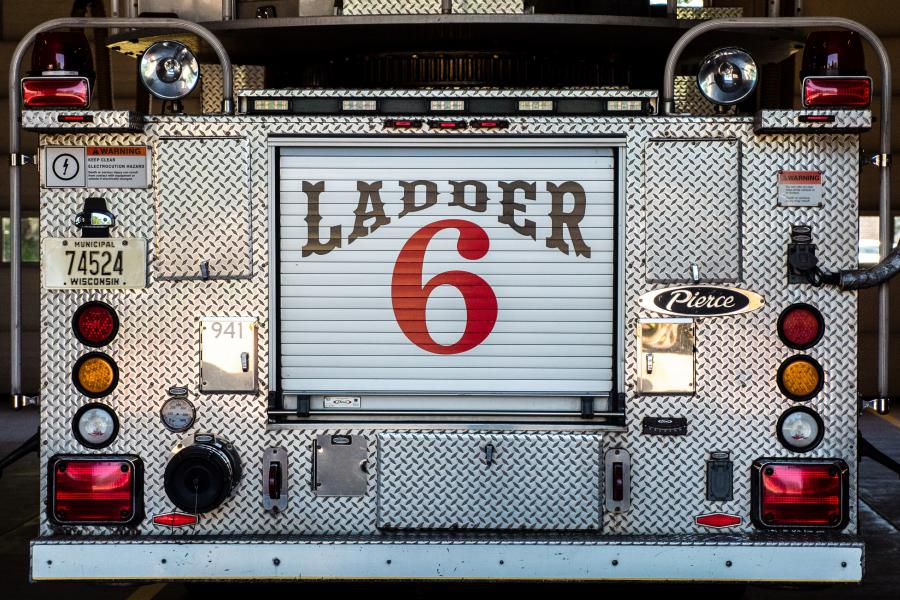 Ladder 6 - Ladder 6 is a 2009 Pierce Aerial featuring a 105-foot aerial ladder and 1500 gallons-per-minute fire pump.