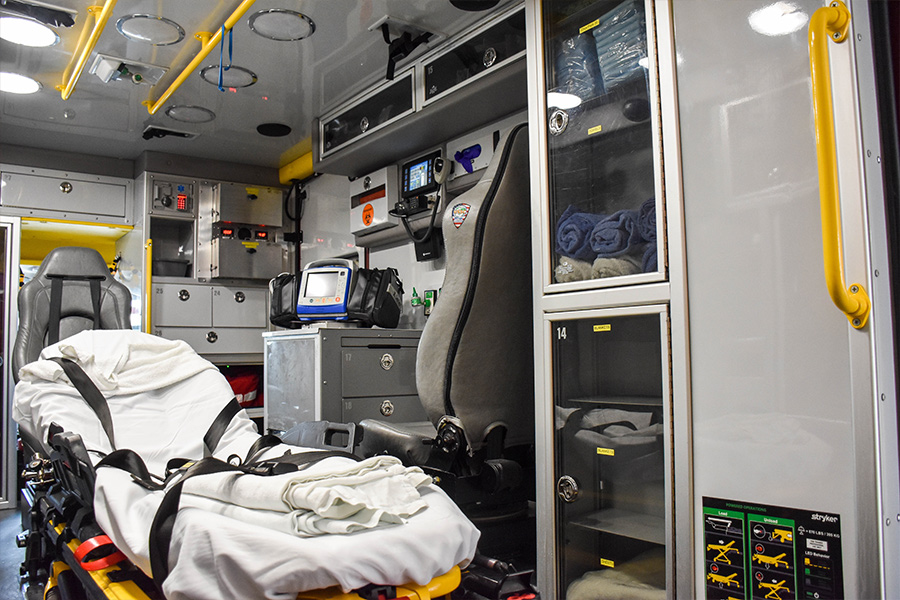 Cot and EMS equipment inside Medic 8.