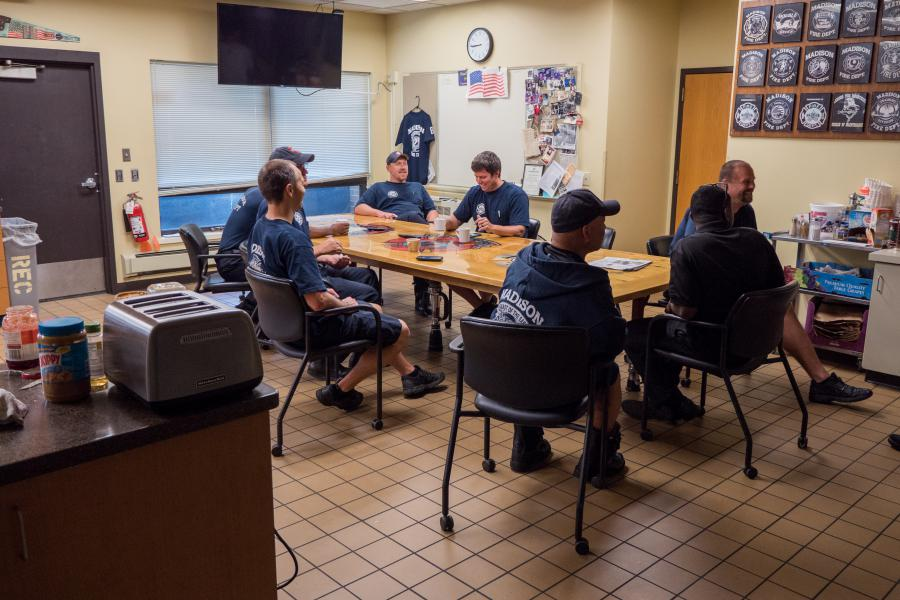 Station 8 Kitchen - Ten firefighters and paramedics cook and dine together every day at Station 8.