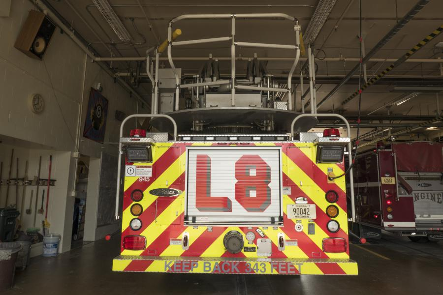 Ladder 8 - Ladder 8 is a 2014 Pierce Quantum Aerial Platform with a TAK4 suspension featuring a 100-foot aerial platform ladder with water tower.