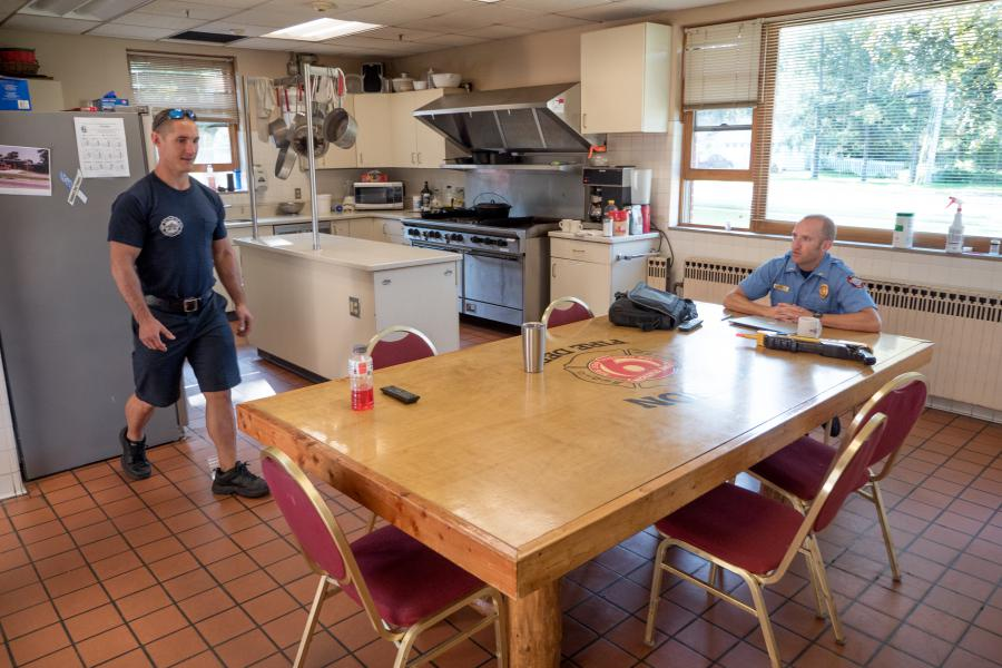 Station 9 Kitchen - Four firefighters cook and dine at Fire Station 9 every day.