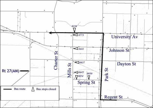 Detour map of Route 27 from northbound Spring and Mills St.