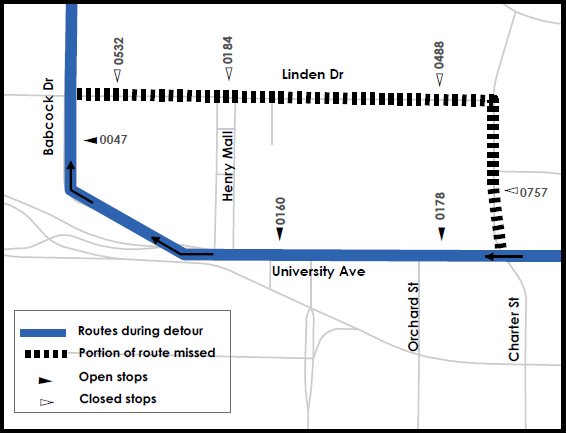 Route 44 detour from Charter