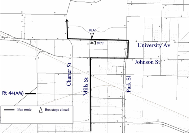 Detour map of Route 44 from northbound Mills St.