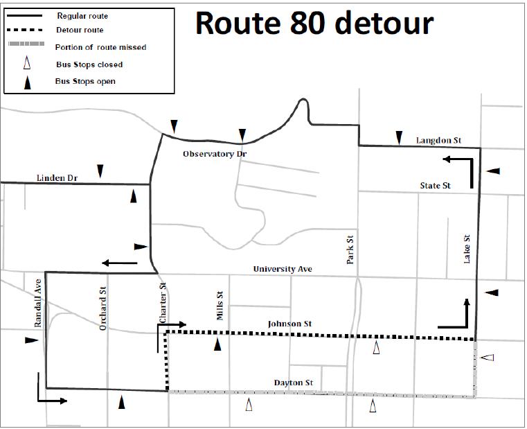 Route 80 detour from Dayton